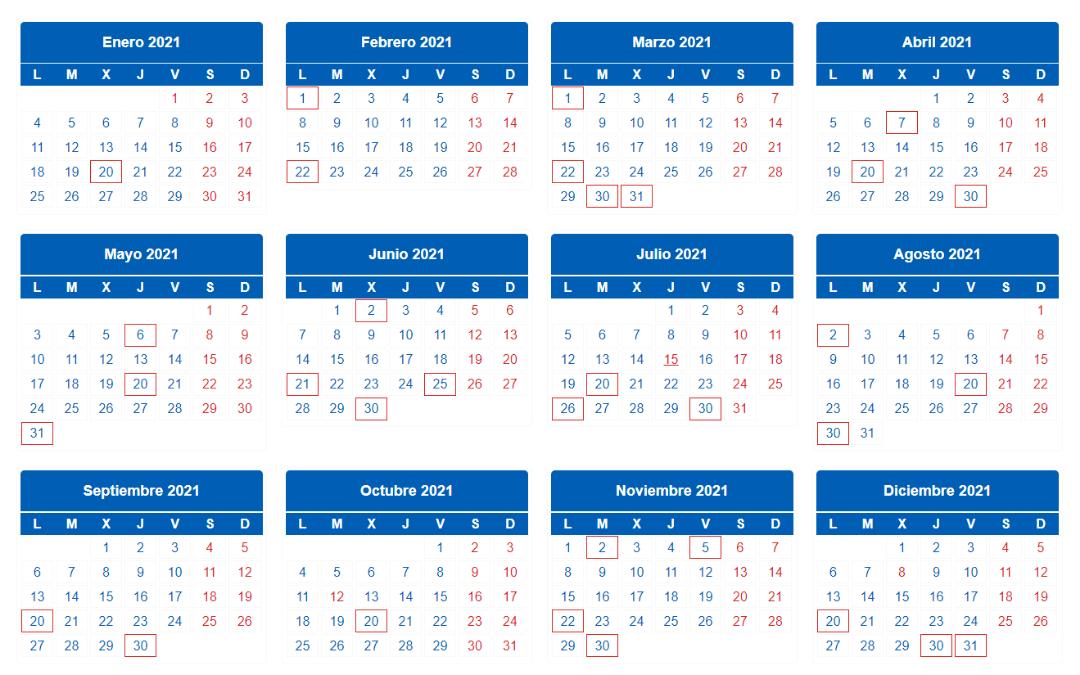 calendario del contribuyente 2021